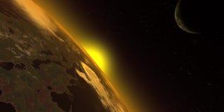 Salida del sol en el espacio stock de ilustración