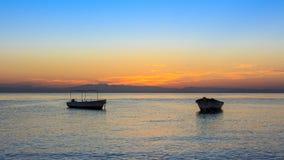 Salida del sol en el golfo de Aqaba Dahab Foto de archivo libre de regalías