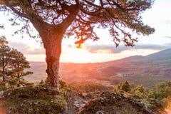 Salida del sol en el La Palma, islas Canarias Fotos de archivo