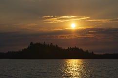 Salida del sol en el lago Brule Imagen de archivo
