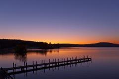 Salida del sol en el lago Winnipesaukee Foto de archivo libre de regalías