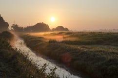 Salida del sol en el Leekstermeer Imagen de archivo libre de regalías