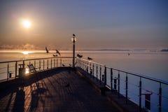 Salida del sol en el mar de Minsk Fotografía de archivo libre de regalías