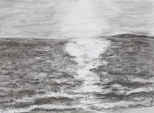 Salida del sol en el mar, dibujando Imagenes de archivo
