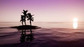 Salida del sol en el océano con las palmeras stock de ilustración