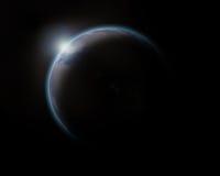 Salida del sol en el planeta del agua azul Imágenes de archivo libres de regalías