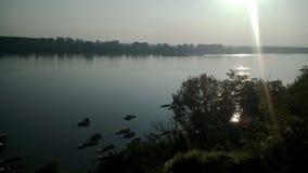 Salida del sol en el río Danubio Imágenes de archivo libres de regalías