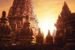 Salida del sol en el templo hindú de Prambanan Java, Indonesia imagen de archivo libre de regalías