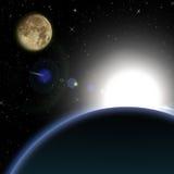 Salida del sol en espacio Imágenes de archivo libres de regalías