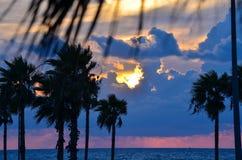 Salida del sol en Galveston Imagen de archivo
