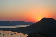 Salida del sol en Gariep Fotos de archivo