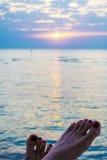 Salida del sol en Hurghada/la bahía de Makadi - Mar Rojo Foto de archivo