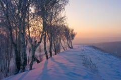 Salida del sol en invierno Foto de archivo libre de regalías