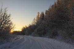 Salida del sol en invierno Imagen de archivo libre de regalías