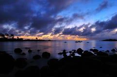 Salida del sol en Isla Mauricio imagen de archivo