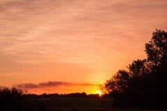 Salida del sol en Kalundborg Imagen de archivo libre de regalías