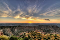 Salida del sol en la barranca del Duro de Palo Fotos de archivo libres de regalías