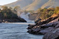 Salida del sol en la cascada de Epupa, Namibia Imagenes de archivo