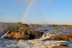 Salida del sol en la cascada de Ruacana, Namibia Imagen de archivo