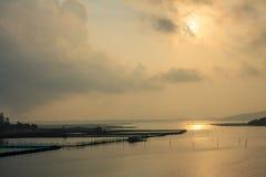 Salida del sol en la charca Fotografía de archivo libre de regalías