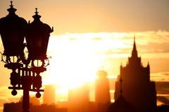 Salida del sol en la ciudad de Moscú Foto de archivo libre de regalías