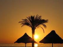 Salida del sol en la costa del Mar Rojo. Fotos de archivo