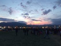 Salida del sol en la fiesta del globo de Albuquerque Imagenes de archivo