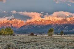 Salida del sol en la fila mormona en Teton magnífico Fotografía de archivo libre de regalías