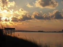Salida del sol en la Florida con el océano Imagenes de archivo