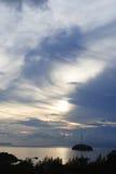 Salida del sol en la isla Fotografía de archivo libre de regalías