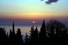 Salida del sol en la montaña Pelion fotografía de archivo libre de regalías