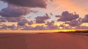 Salida del sol en la playa de Asnelles Normandía Francia fotografía de archivo libre de regalías