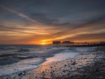 Salida del sol en la playa de Cromer Imagen de archivo libre de regalías
