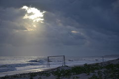 Salida del sol en la playa de Litoranea Fotografía de archivo
