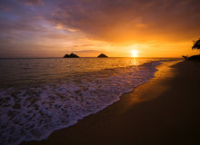 Salida del sol en la playa del lanikai en Hawaii imagen de archivo libre de regalías