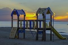 Salida del sol en la playa en España Foto de archivo libre de regalías
