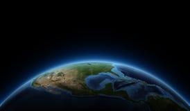 Salida del sol en la tierra del planeta foto de archivo