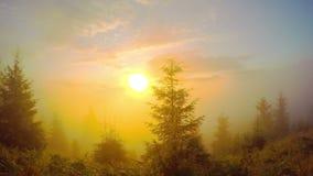 Salida del sol en las montañas almacen de video
