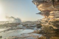 Salida del sol en las rocas Fotos de archivo libres de regalías