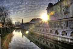 Salida del sol en Ljubljana Imagen de archivo libre de regalías