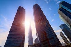 Salida del sol en Lujiazui, Pudong, Shangai, China Fotografía de archivo libre de regalías