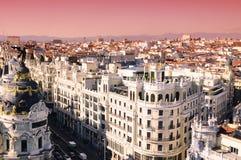 Salida del sol en Madrid Foto de archivo libre de regalías