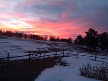 Salida del sol en Nebraska occidental Fotografía de archivo