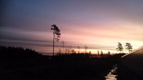Salida del sol en Noruega Imagen de archivo libre de regalías