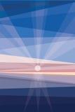 Salida del sol en orilla Extracto geométrico stock de ilustración
