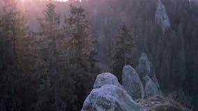 Salida del sol en parque nacional sobre bosque y rocas el sol naciente ilumina maravillosamente los tops de los pinos y almacen de video
