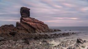 Salida del sol en Playa de Portizuelo Foto de archivo libre de regalías
