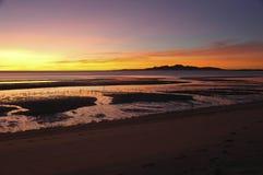 Salida del sol en San Felipe, Baja california Imágenes de archivo libres de regalías