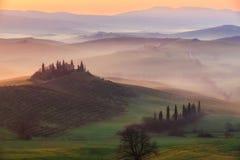 Salida del sol en Toscana Fotografía de archivo