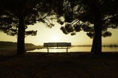 Salida del sol en un parque de Manresa, España Foto de archivo